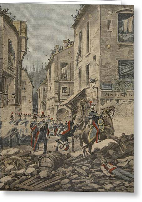 Disorder Greeting Cards - Serious Troubles In Italy Riots Greeting Card by French School