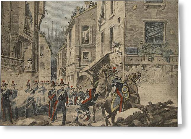 Serious Troubles In Italy Riots Greeting Card by French School