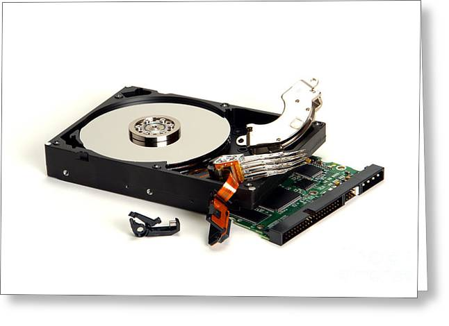 Disk Photographs Greeting Cards - Seriously Crashed Hard Drive Greeting Card by Olivier Le Queinec