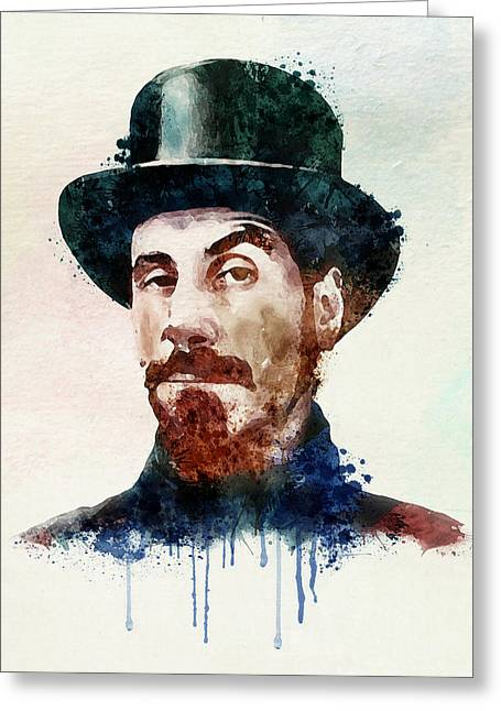 Sizes Greeting Cards - Serj Tankian watercolor Greeting Card by Marian Voicu