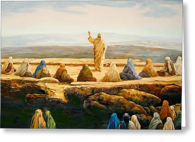 Christ Sermon Greeting Cards - Sermon On The Mount Greeting Card by Bryan Ahn