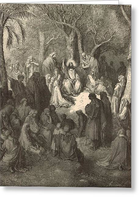 Jesus work Drawings Greeting Cards - Sermon on the Mount Greeting Card by Antique Engravings