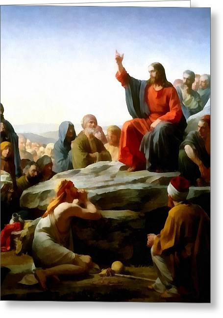 Sermon Carl Bloch Greeting Cards - Sermon On The Mount Watercolor Greeting Card by Carl Bloch