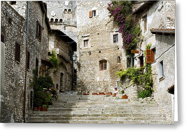 Village Views Greeting Cards - Sermoneta Greeting Card by Fabrizio Troiani