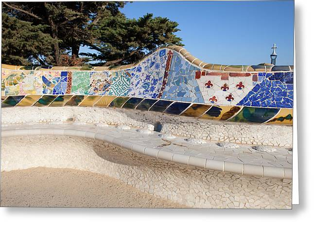 Catalunya Greeting Cards - Serpentine Bench in Park Gueli in Barcelona Greeting Card by Artur Bogacki