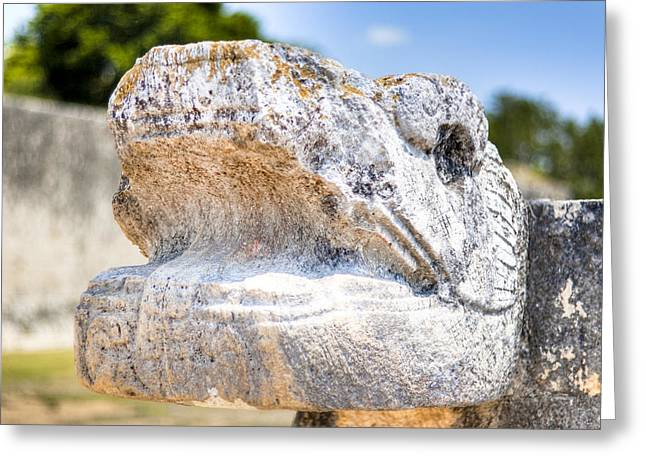 Chichen Itza Greeting Cards - Serpents Head at Chichen Itza Ball Court Greeting Card by Mark Tisdale