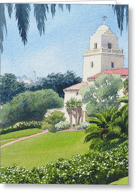 Duke Paintings Greeting Cards - Serra Museum and USD Greeting Card by Mary Helmreich