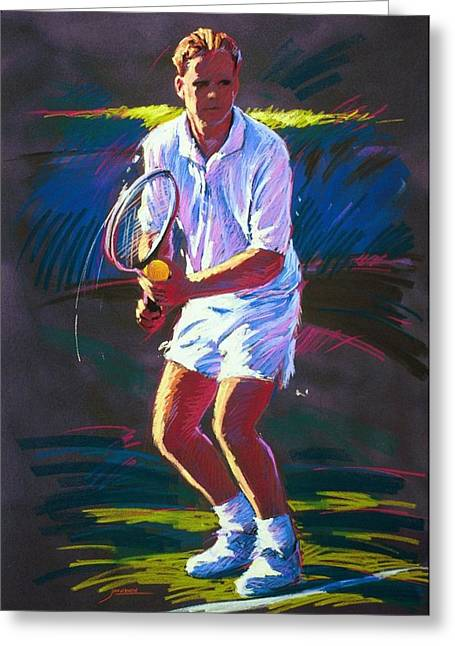 Tennis Player Paintings Greeting Cards - Serve Greeting Card by Jim Grady