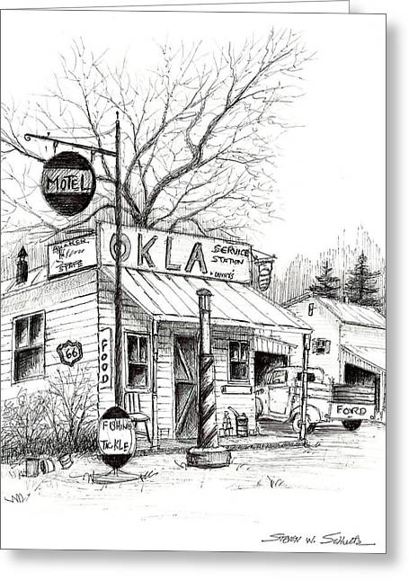 Award Winning Art Greeting Cards - Service Station Greeting Card by Steven Schultz