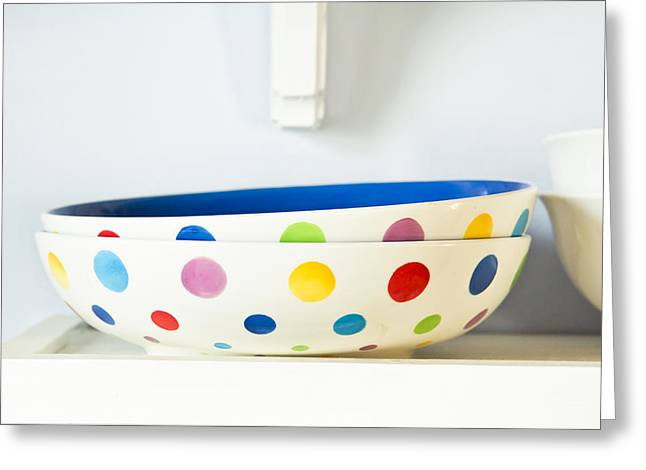Directly Above Greeting Cards - Serving bowls Greeting Card by Tom Gowanlock