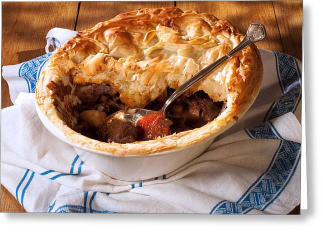 Serving Game Pie Greeting Card by Amanda Elwell