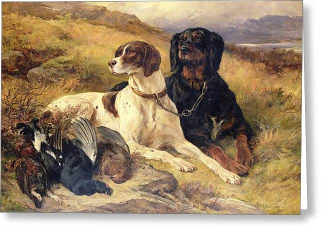 Dog Photographs Greeting Cards - Serving The Guns Oil On Canvas Greeting Card by Sir Edwin Landseer