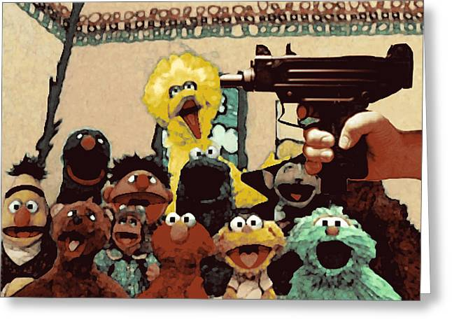 Sesame Street Greeting Cards - Sesame Shooting  Greeting Card by Nezzy Knowzzz