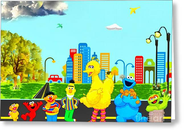 Sesame Street Greeting Cards - Sesame Street Greeting Card by Elizabeth Coats