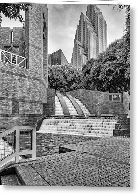Sesquicentennial Greeting Cards - Sesquicentennial Fountains at Wortham Center in Black and White - Downtown Houston Texas Greeting Card by Silvio Ligutti
