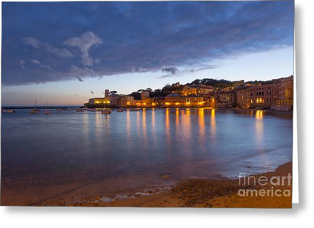 Illuminate Greeting Cards - Sestri levante in blue hour Greeting Card by Mats Silvan