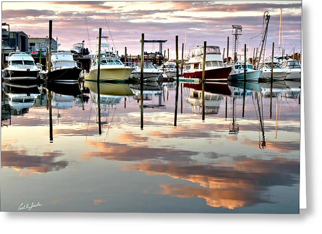 Harbor Sesuit Harbor Greeting Cards - Sesuit Harbor Pastel Reflections Greeting Card by Carl Jacobs