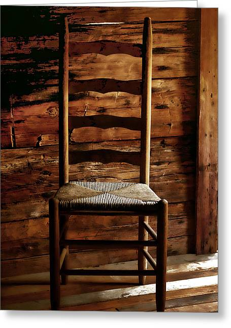 Ladder Back Chairs Greeting Cards - Set a Spell Greeting Card by Linda Mcfarland