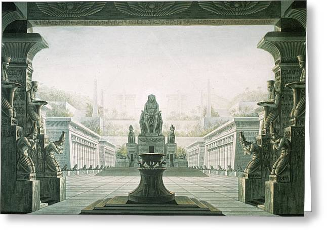 Opera Greeting Cards - Set Design For Last Scene Of The Magic Flute By Wolfgang Amadeus Mozart 1756-91 Coloured Engraving Greeting Card by Karl Friedrich Schinkel