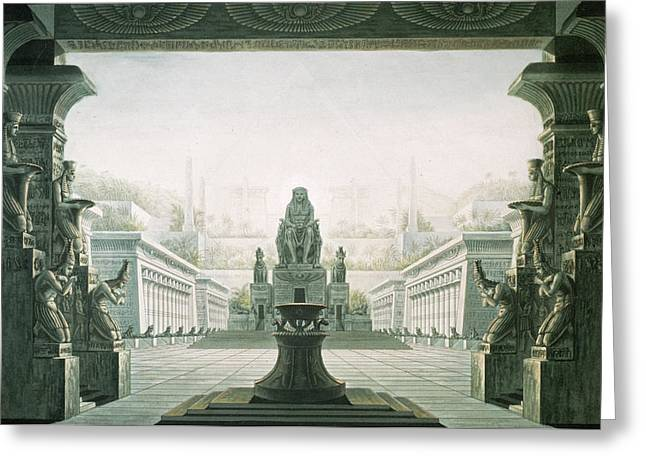 Set Design For Last Scene Of The Magic Flute By Wolfgang Amadeus Mozart 1756-91  Greeting Card by Karl Friedrich Schinkel