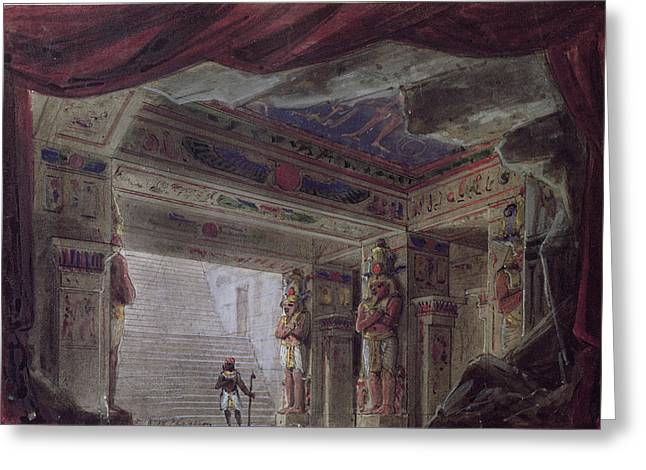 Egyptian Photographs Greeting Cards - Set Design For The Magic Flute By Wolfgang Amadeus Mozart 1756-91 Wc On Paper Greeting Card by French School