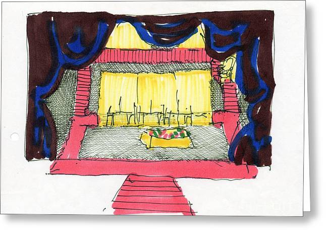 Dressing Room Drawings Greeting Cards - Set for The Blacks by Genet Greeting Card by Judith Van Praag