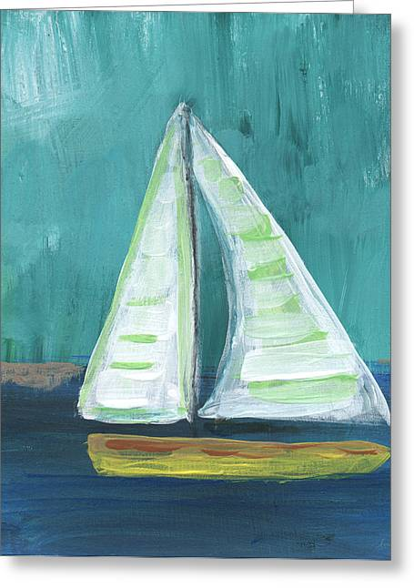 Stripes Greeting Cards - Set Free- Sailboat Painting Greeting Card by Linda Woods