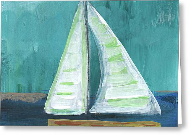 Blue Green Water Greeting Cards - Set Free- Sailboat Painting Greeting Card by Linda Woods