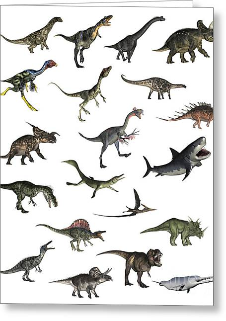 Fish Digital Art Greeting Cards - Set Of Dinosaurs Greeting Card by Elena Duvernay