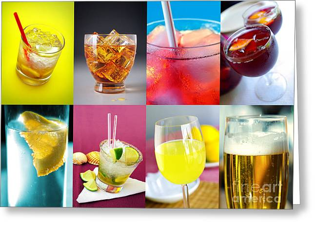 Liqueur Greeting Cards - Set of Drinks Greeting Card by Carlos Caetano