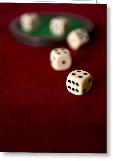Plastic Solution Greeting Cards - Set of five dice Greeting Card by Jaroslaw Blaminsky