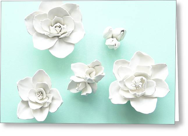 White Ceramics Greeting Cards - Set of five Magnolia Flowers- Magnolia Wall Sculpture Greeting Card by Lenka Kasprisin