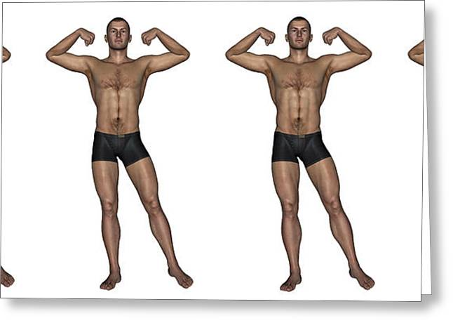 Boxer Digital Art Greeting Cards - Set Of Four Men Showing Progression Greeting Card by Elena Duvernay