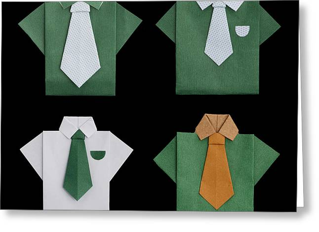 White Cloth Greeting Cards - Set of isolated paper made shirts. Greeting Card by Deyan Georgiev