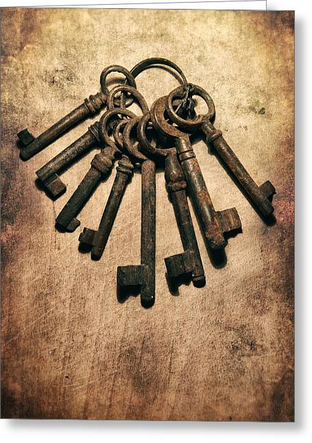 Closing Greeting Cards - Set of old rusty keys on the metal surface Greeting Card by Jaroslaw Blaminsky