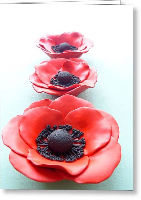 Decor Ceramics Greeting Cards - Set of three red poppy flowers Greeting Card by Lenka Kasprisin