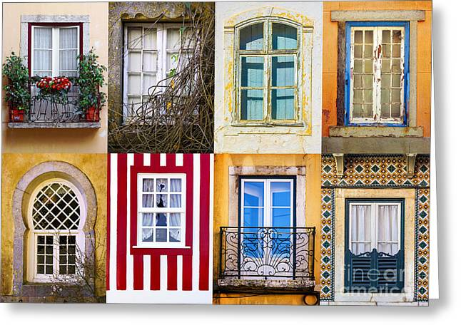 Glass Wall Greeting Cards - Set of Windows Greeting Card by Carlos Caetano