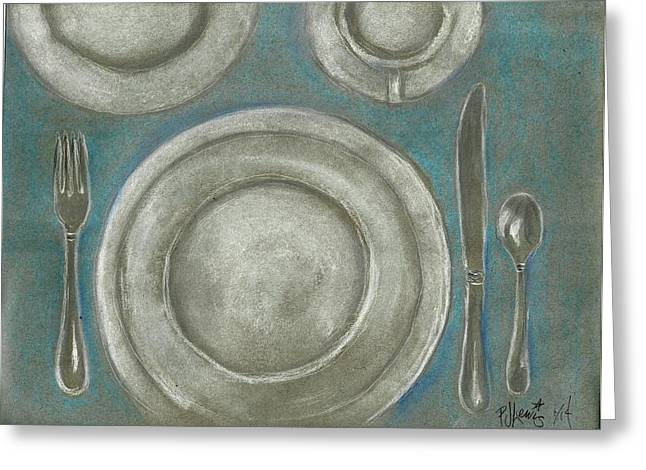 Dining Room Drawings Greeting Cards - Set the table Greeting Card by P J Lewis