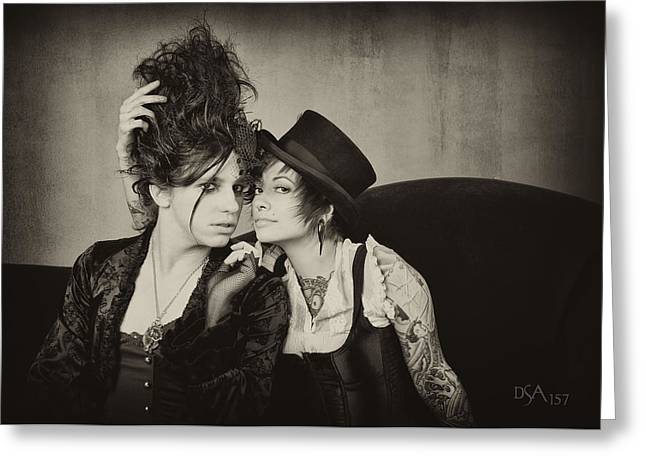 Steampunk Photographs Greeting Cards - Seth and Amy Greeting Card by David April