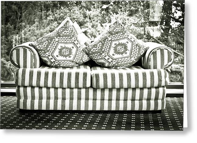 Lounge Photographs Greeting Cards - Settee Greeting Card by Tom Gowanlock