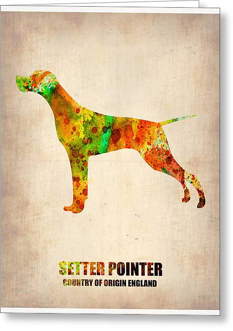 Pointer Greeting Cards - Setter Pointer Poster Greeting Card by Naxart Studio