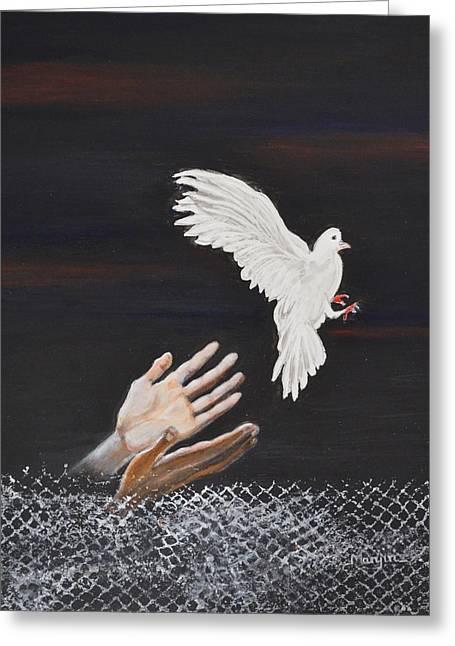 Liberation Greeting Cards - Setting Free-Inspirational painting Greeting Card by Manjiri Kanvinde