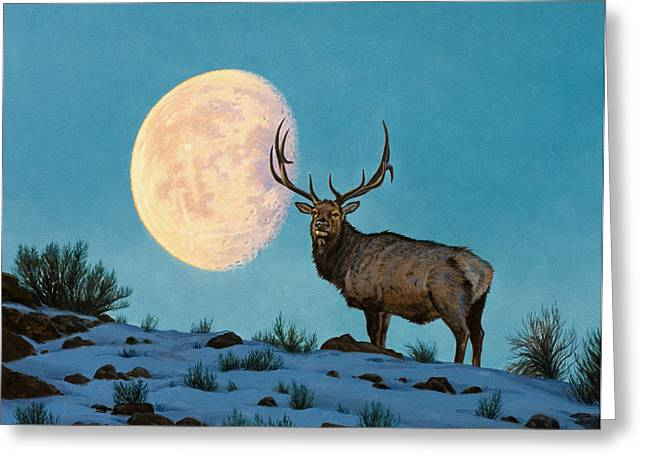 Elk Wildlife Greeting Cards - Setting Moon and Elk Greeting Card by Paul Krapf