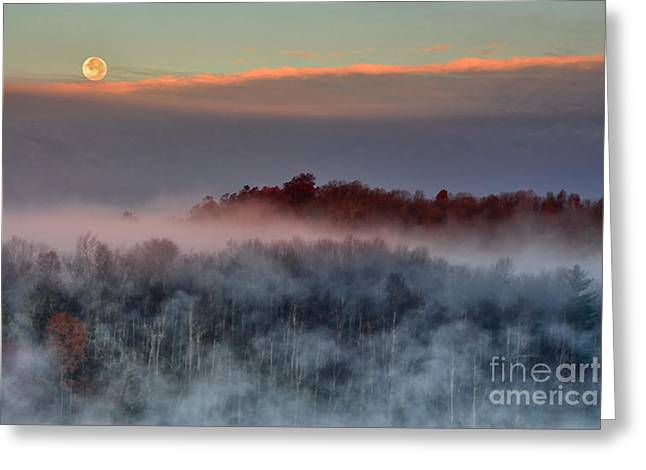 Moon Set Greeting Cards - Setting Moon over Foggy Lake Greeting Card by Thomas R Fletcher