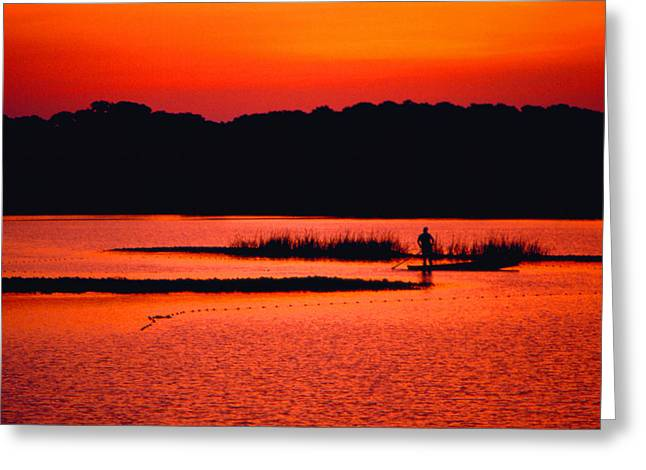 Cedar Key Greeting Cards - Setting Nets at Sunset Greeting Card by Bruce Roberts