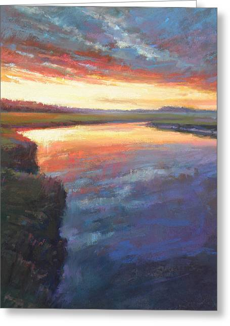 Cape Cod Pastels Greeting Cards - Setting on Scorton Greeting Card by Ed Chesnovitch