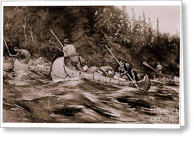 Canoe Drawings Greeting Cards - Setting Poles Greeting Card by Frederic Remington