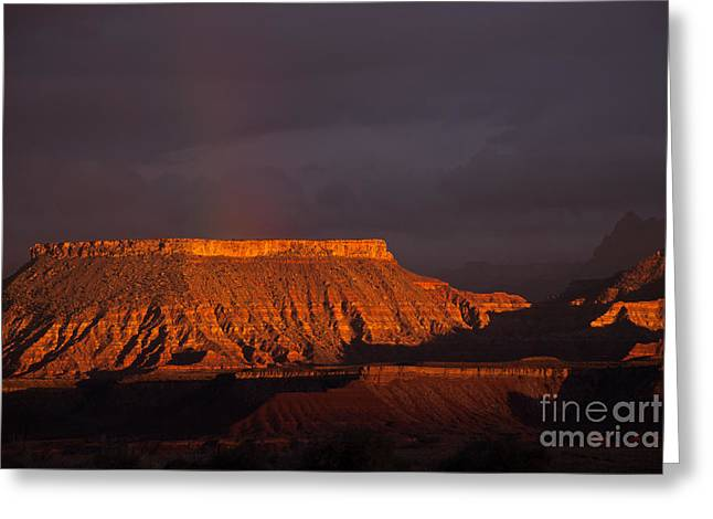 Geobob Greeting Cards - Setting Sun and Rainbow over Canyon Country near Virgin Utah Greeting Card by Robert Ford