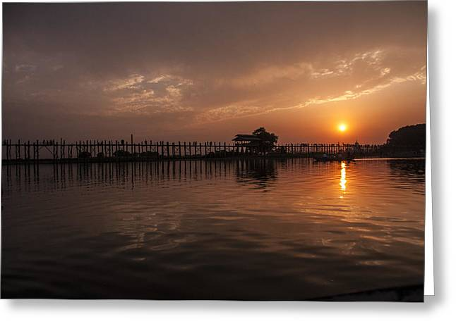 Reflection Of Sun In Clouds Greeting Cards - Setting Sun in Mandalay Greeting Card by Nichon Thorstrom