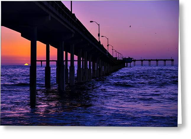 California Ocean Sunset Greeting Cards - Setting Sun Ocean Beach Greeting Card by Garry Gay